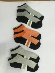 Hans Low Ankle Set of 3 Socks Grey-Orange-Half white
