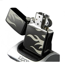 Zippo Tattoo Flame Lighter, Ebony