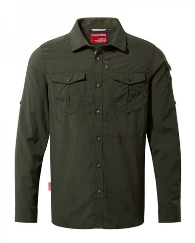 Craghoppers Mens NosiLife Adventure II Insect Repellent Long-Sleeved Shirt DK Khaki.jpg